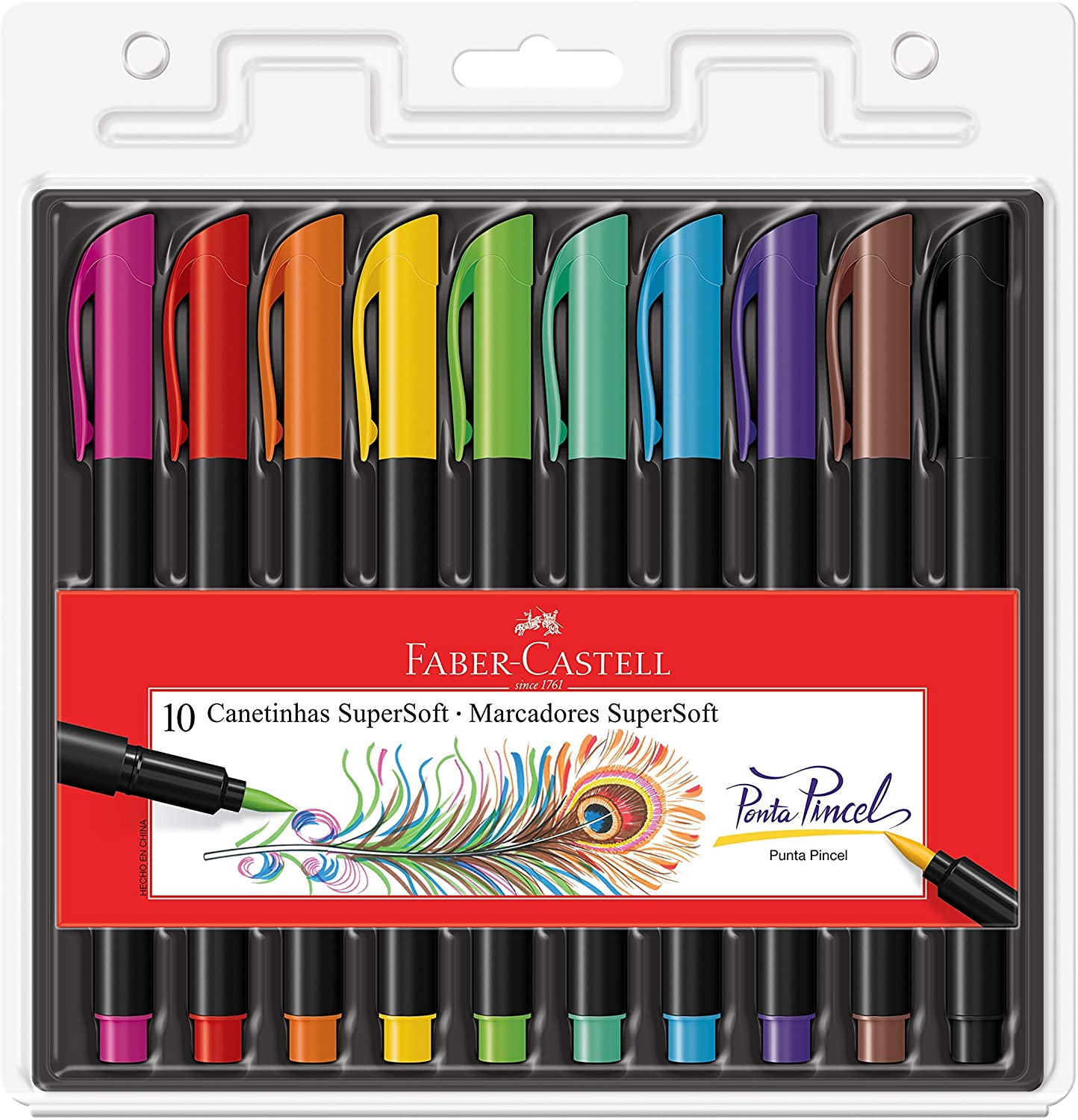 Caneta FABER-CASTELL Supersoft Brush c/ 10 Cores