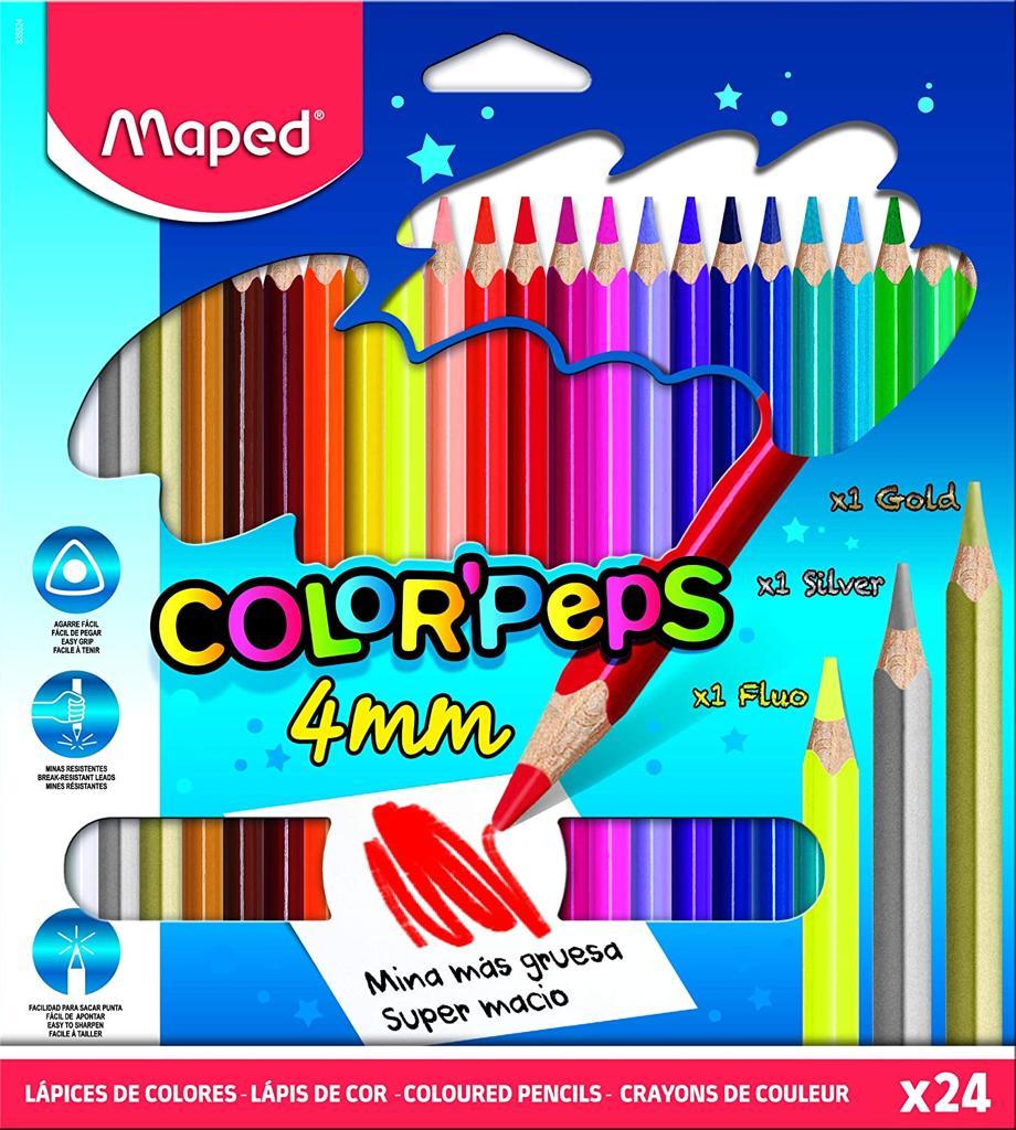 Lápis de Cor 4mm Maped Color Peps 24 Cores