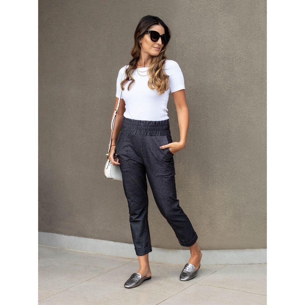Calça Com Cós Drapeado Jeans Cloé New