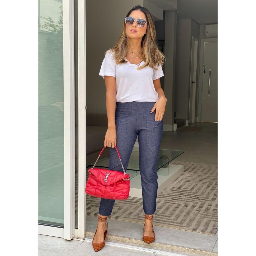 Calça Recortada Jeans Azul