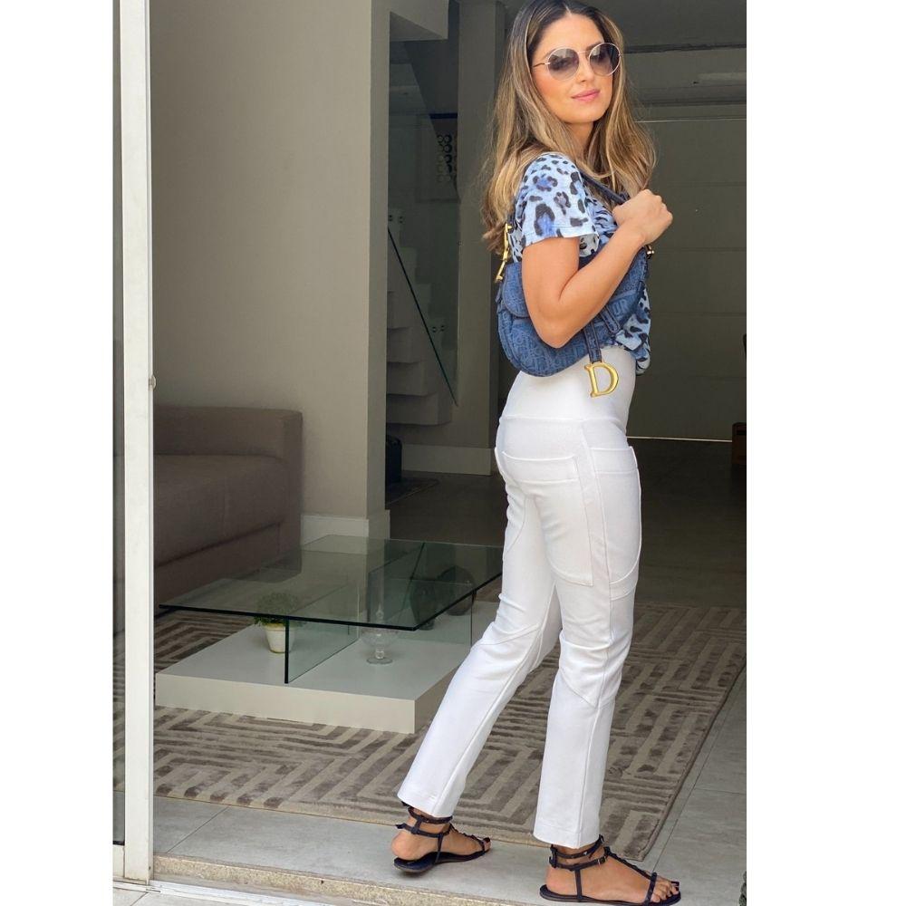 Calça Recortada Jeans Branca