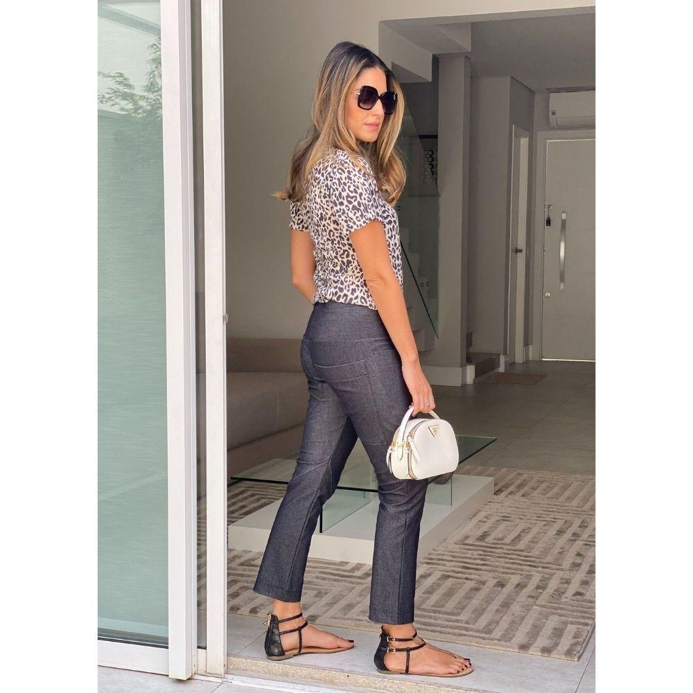 Calça Recortada Jeans Preta