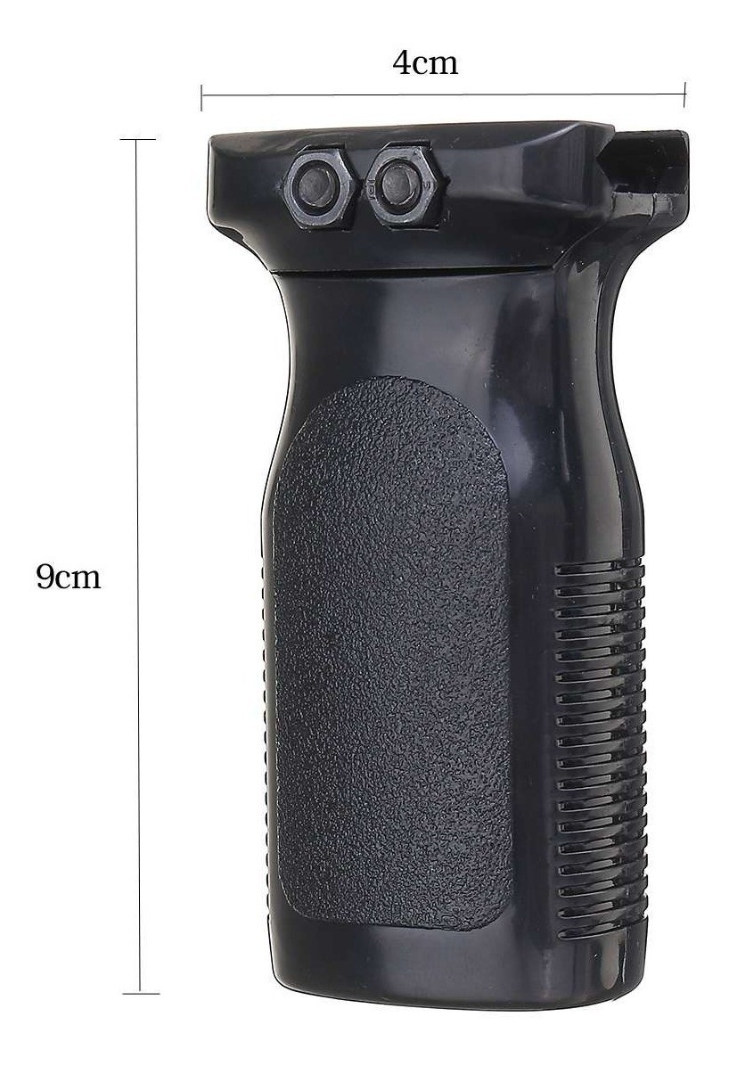FRONT GRIP RETO 20MM AIRSOFT PRETO