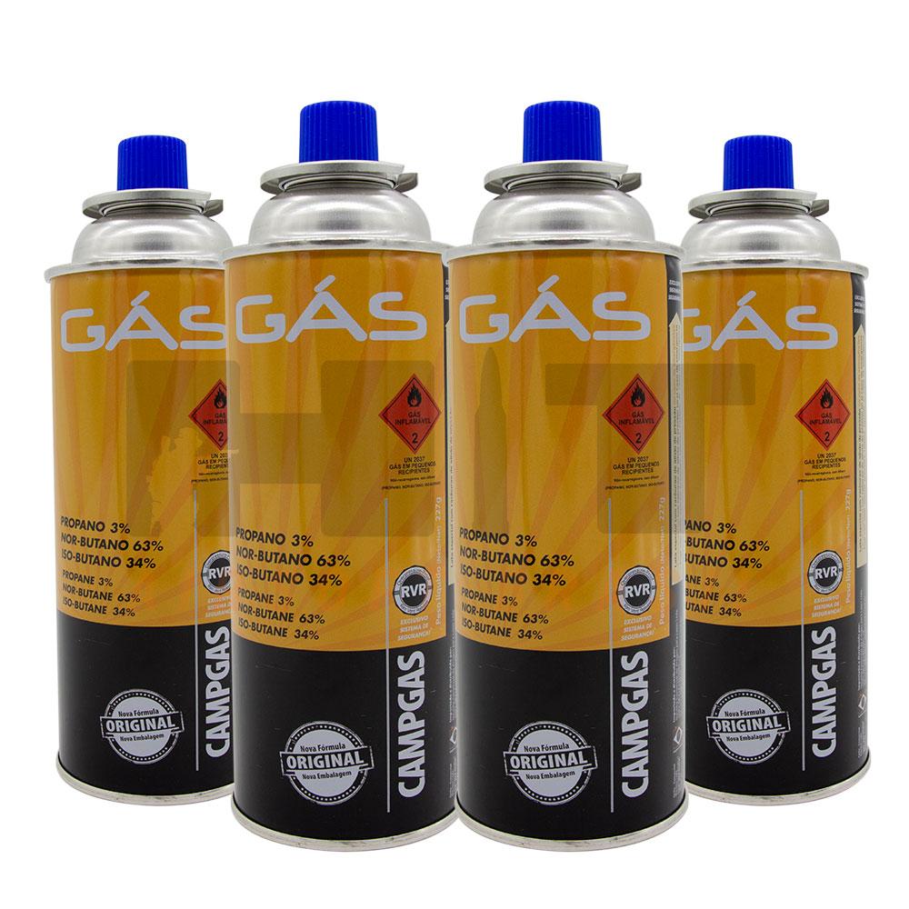 KIT 4 CARTUCHOS REFIL GAS CAMPGAS NTK