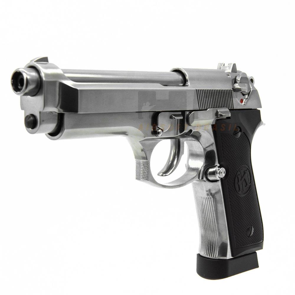 PISTOLA AIRGUN M92 FULL METAL CROMADA 4.5MM SRC