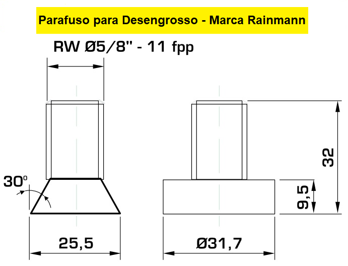"""130.01 Parafuso Para Cabeçote Quadrado Raimann com Porca 1.1/4"""""""