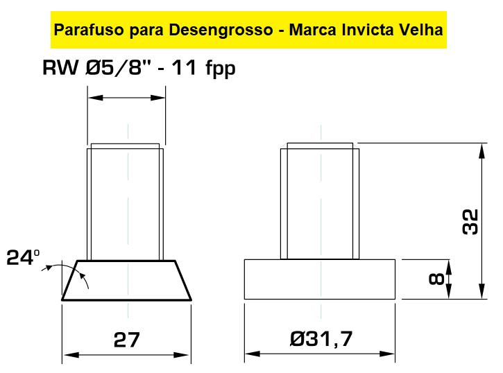 """130.02 Parafuso Para Cabeçote Quadrado Invicta com Porca 1.1/2"""""""
