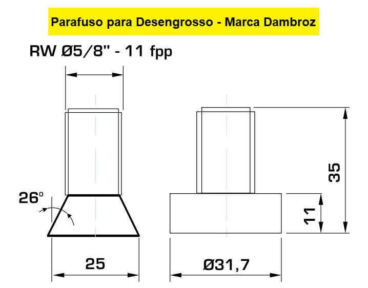 """130.03 Parafuso Para Cabeçote Quadrado Dambróz com Porca 1.1/4"""""""