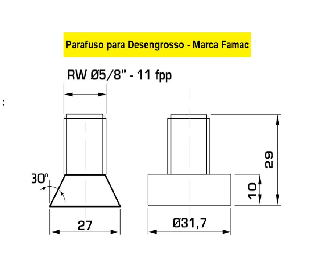 130.04 Parafuso Para Cabeçote Quadrado Famac com Porca 1.1/4