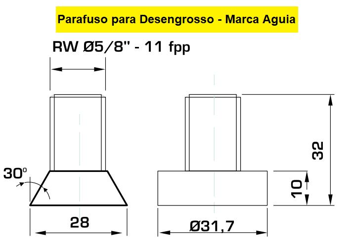 130.07 Parafuso Para Cabeçote Quadrado Águia com Porca 1.1/4