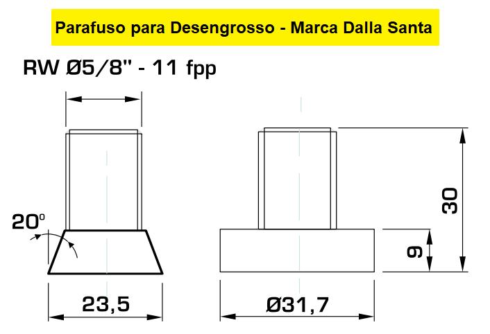 130.08 Parafuso Para Cabeçote Quadrado Dalla Santa com Porca 1.1/4