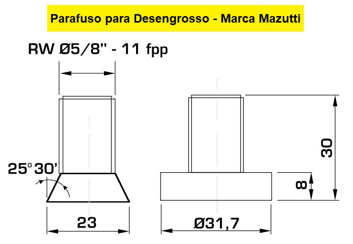 """130.09 Parafuso Para Cabeçote Quadrado Mazutti com Porca 1.1/2"""""""