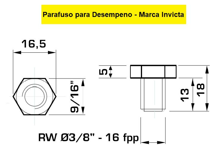 130.13 Parafuso Para Cabeçote Redondo  Invicta / Mazzuti