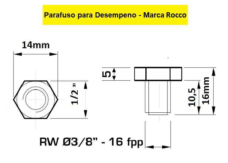 130.14 Parafuso Para Cabeçote Redondo Rocco