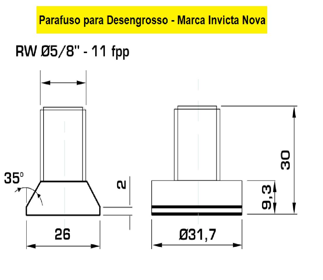 130.22 Parafuso Para Cabeçote Quadrado Invicta Nova com Porca 1.1/4