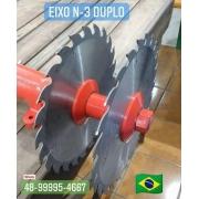 Eixo N-3 Duplo 30mm p/ 2 Serras Circulares
