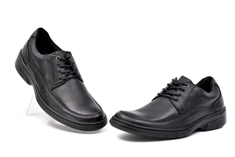 Sapato Social com Cadarço de Couro Masculino Jovaceli 29303 Preto