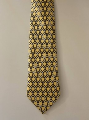 Gravata Hermès Amarela e Azul