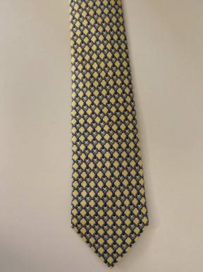 Gravata Hermès Amarela e Azul Claro
