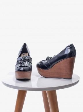 Sapato A.Brand Anabela Verniz Preto