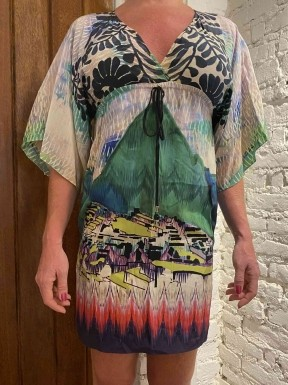 Vestido A.Brand Seda Pura Estampado