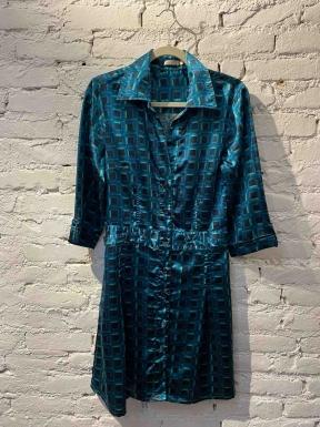 Vestido Dinde Seda Azul