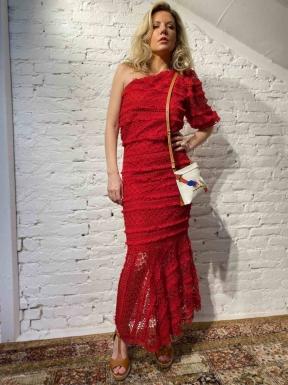 Vestido Mixed Renda Vermelho