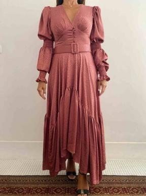 Vestido Patbo Assimétrico Mangas Rosê