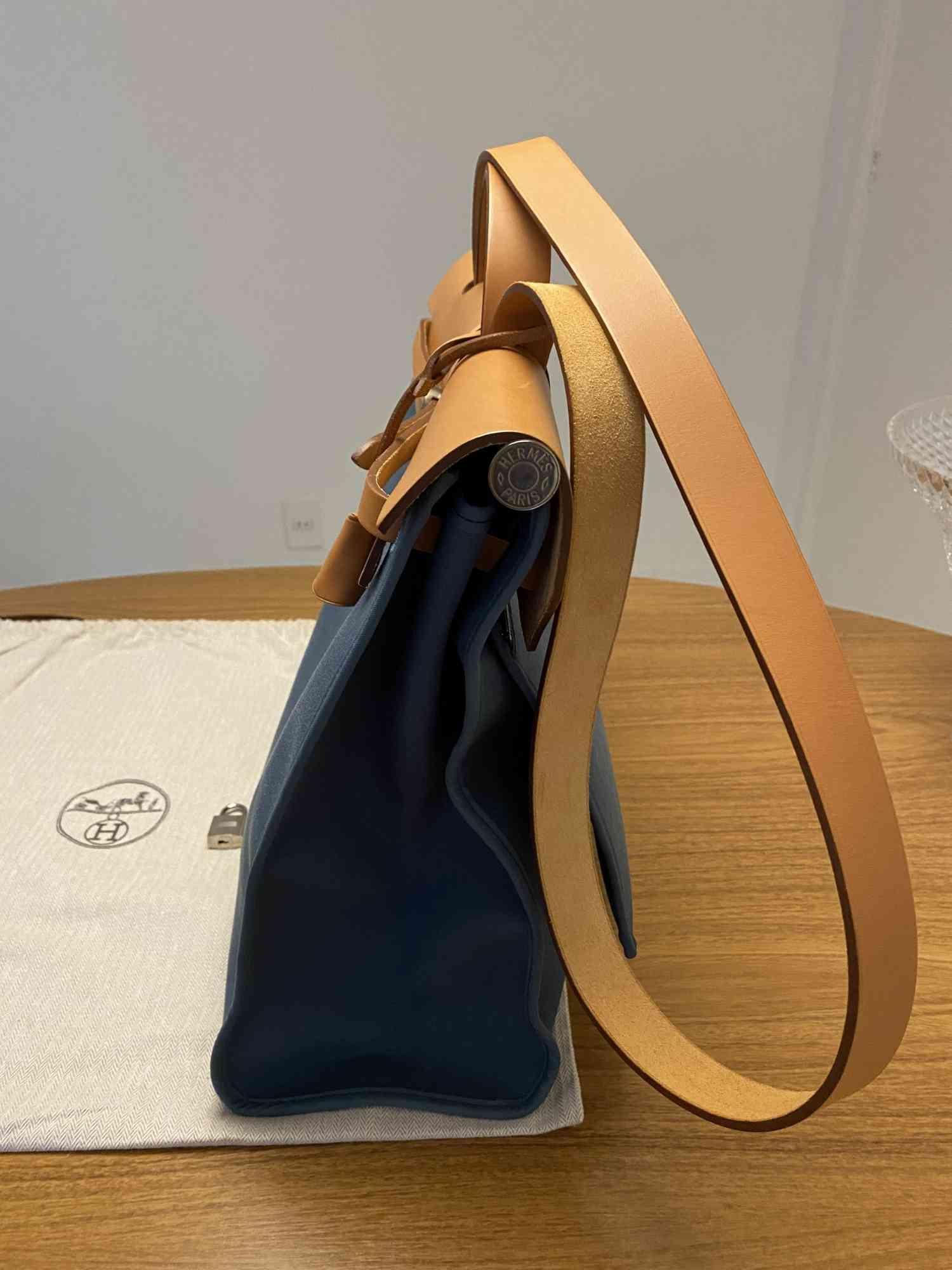 Bolsa Hermès Herbag Zip 37 Azul