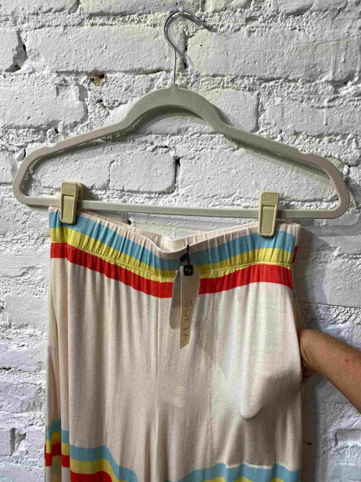 Calça Sofia Bege Listras Color