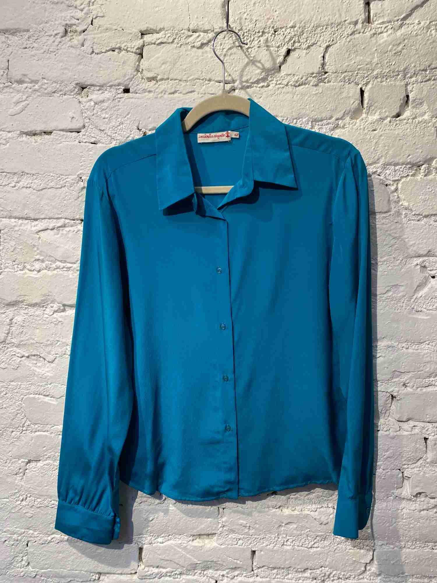 Camisa Isabela Capeto Seda Azul