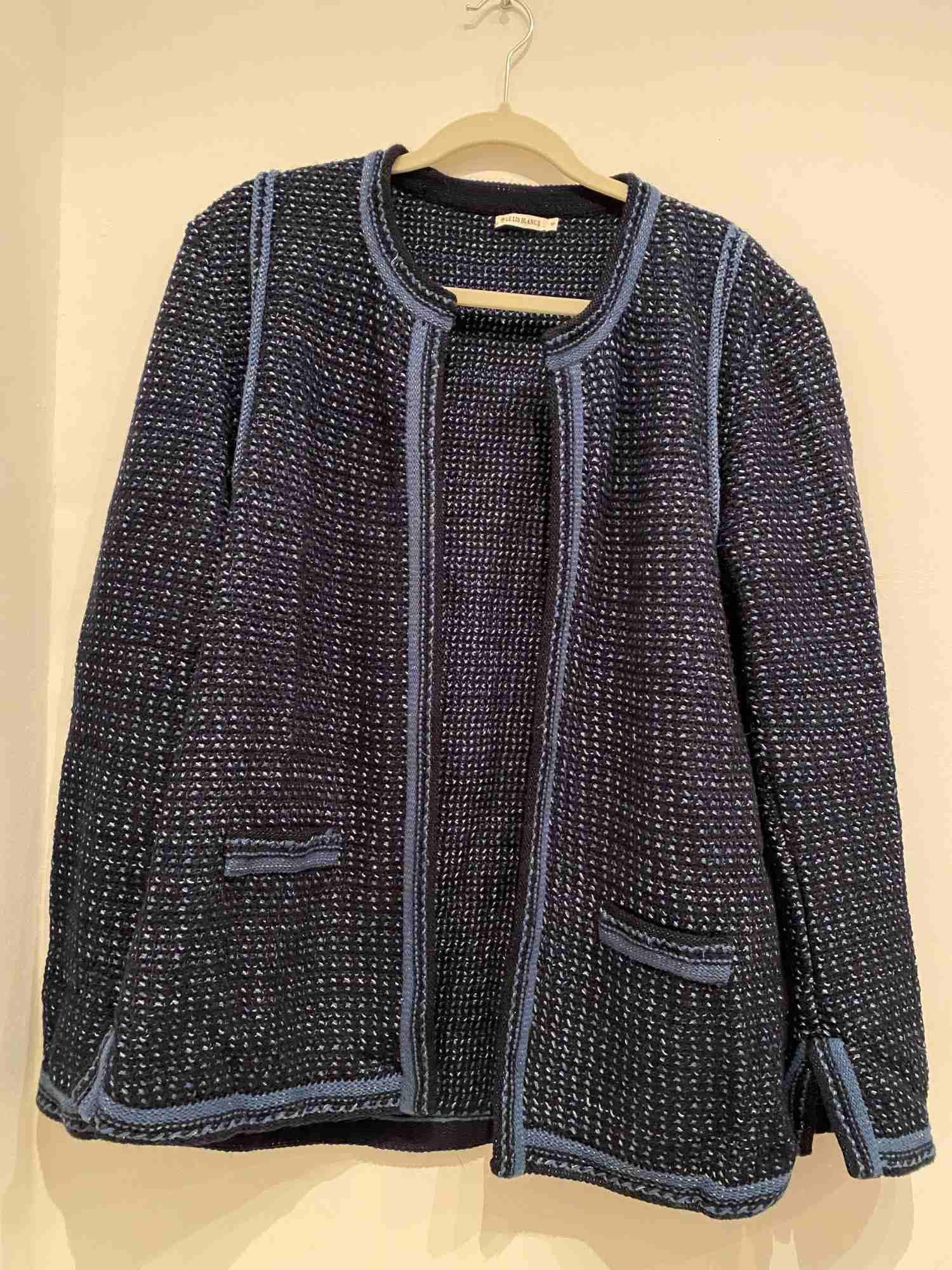 Cardigan Tricot Azul com Brilho