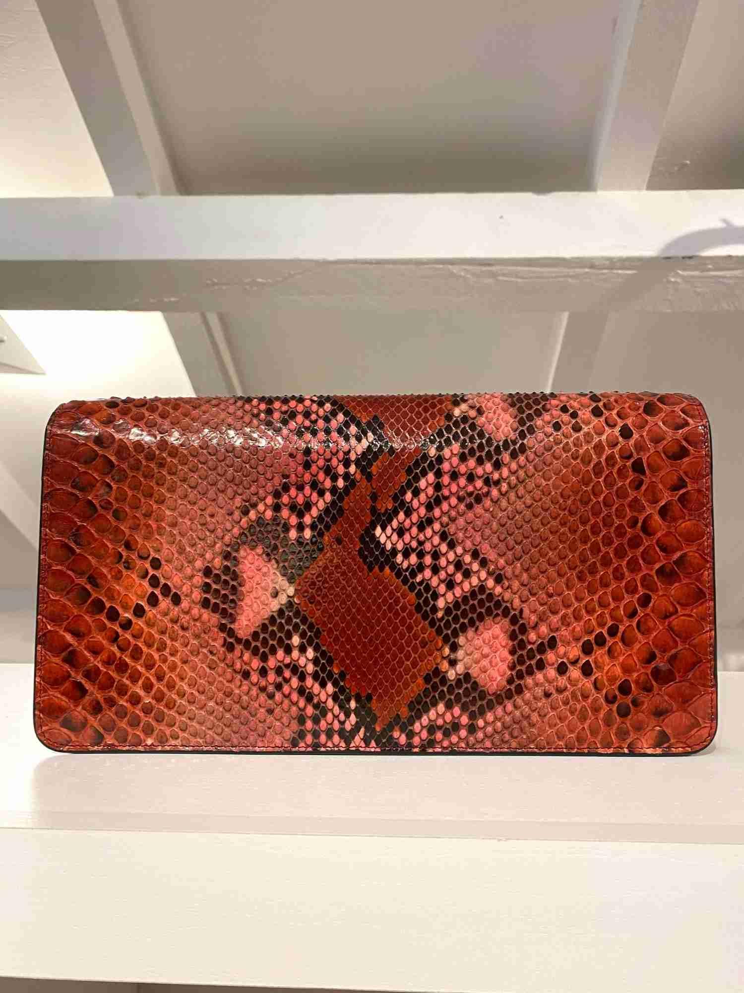 Clutch Gucci Python Vermelha E Rosa