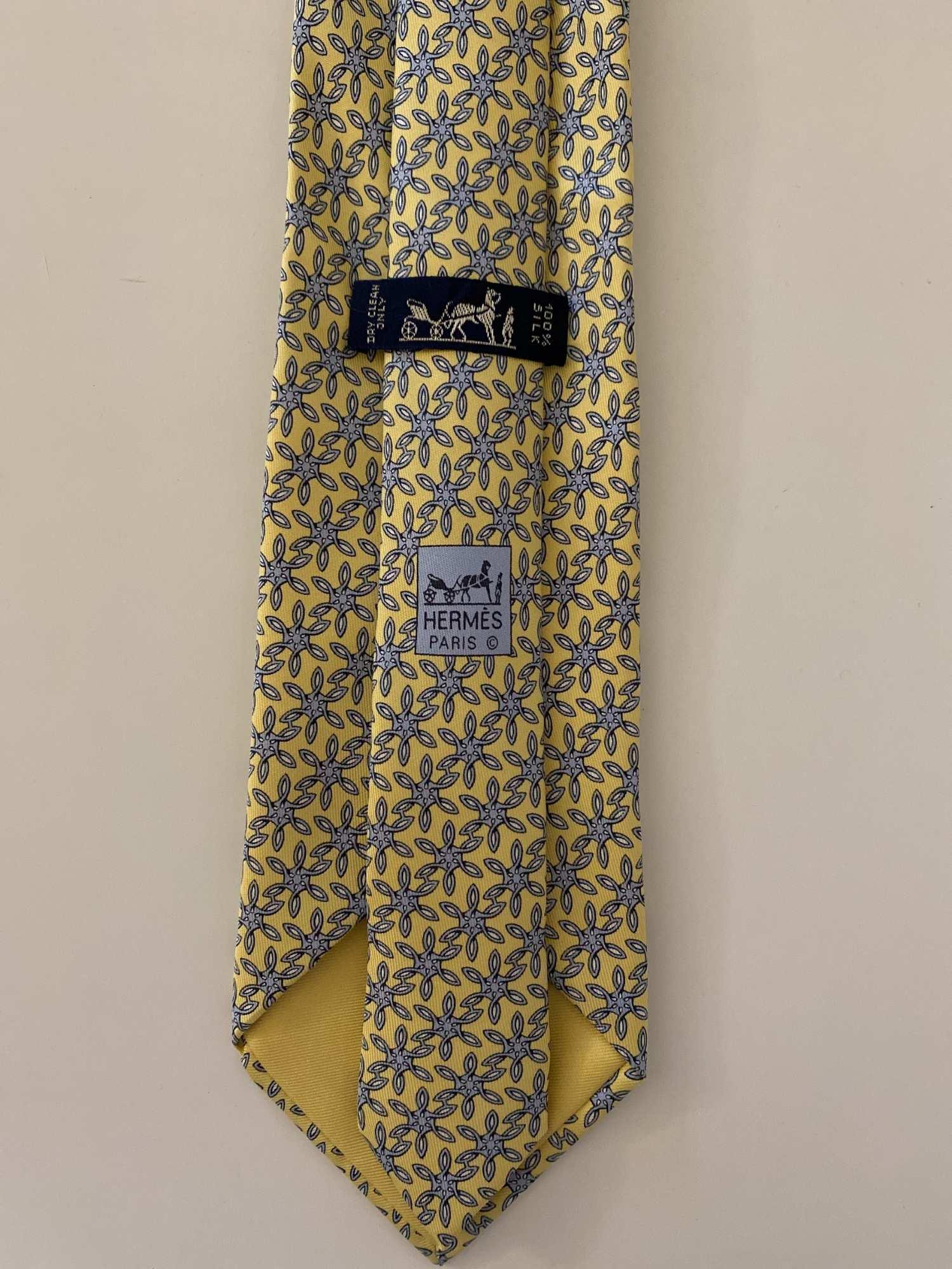 Gravata Hermès Azul e Amarela