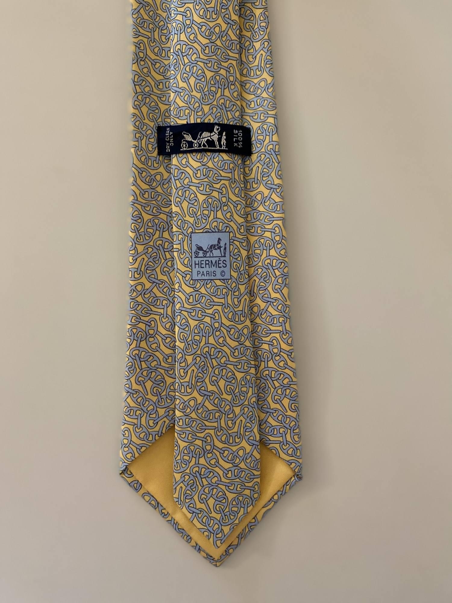 Gravata Hermès Elos Amarela e Azul
