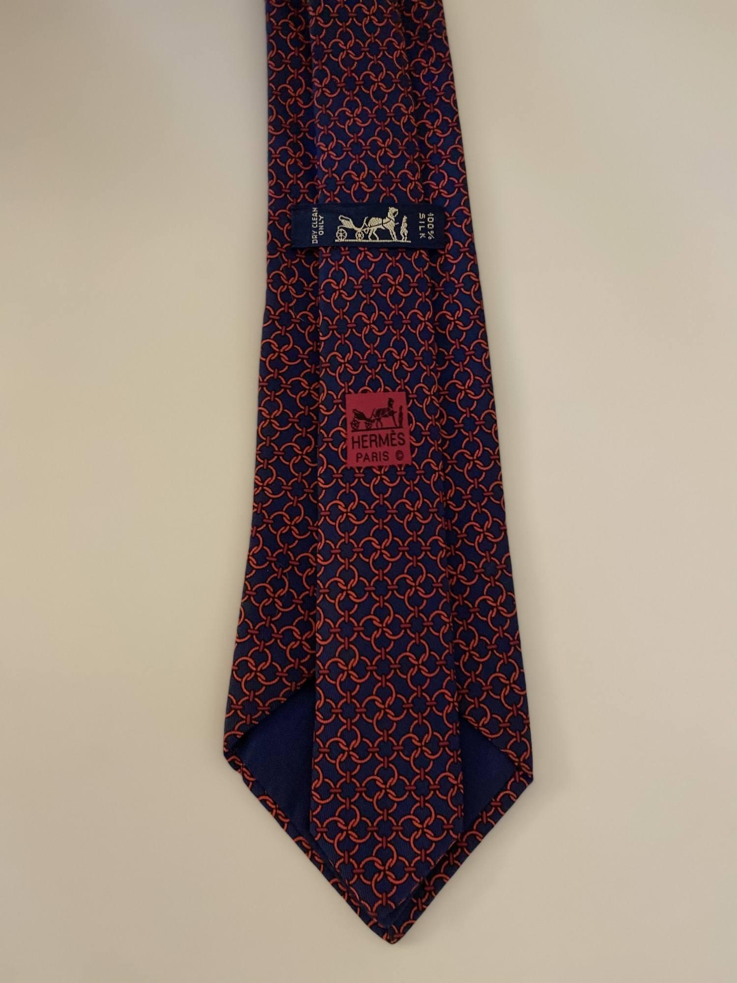 Gravata Hermès Vermelha e Azul
