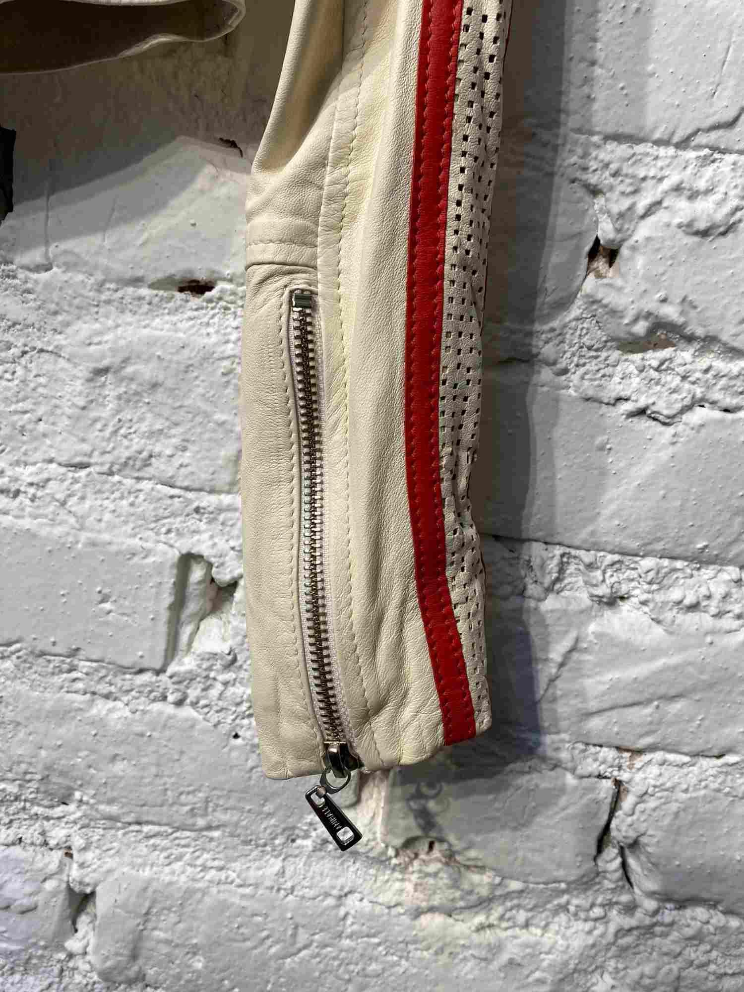 Jaqueta Animale Couro Lagosta Branca e Vermelha
