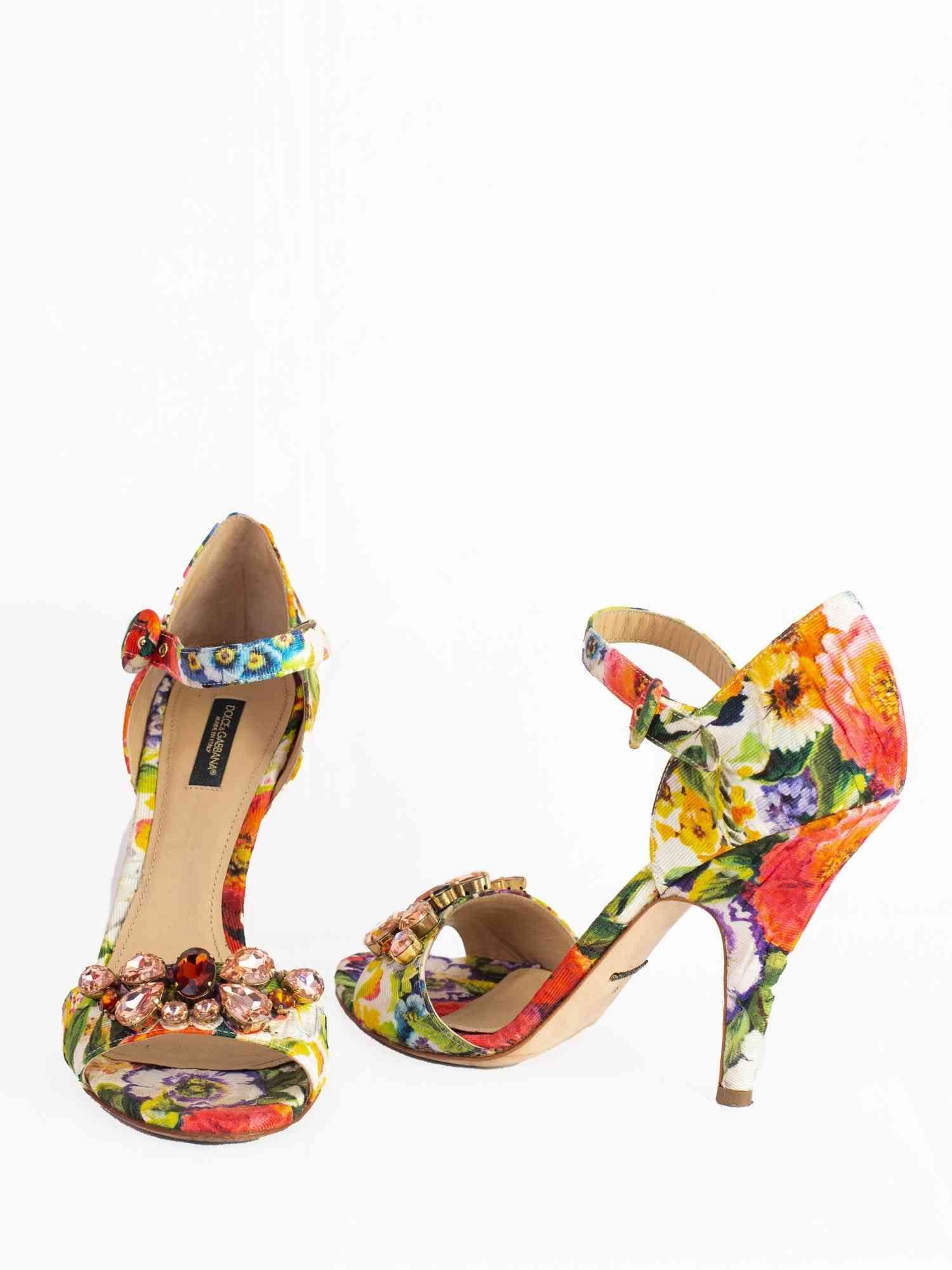 Sandália Dolce & Gabbana Floral  com Pedrarias