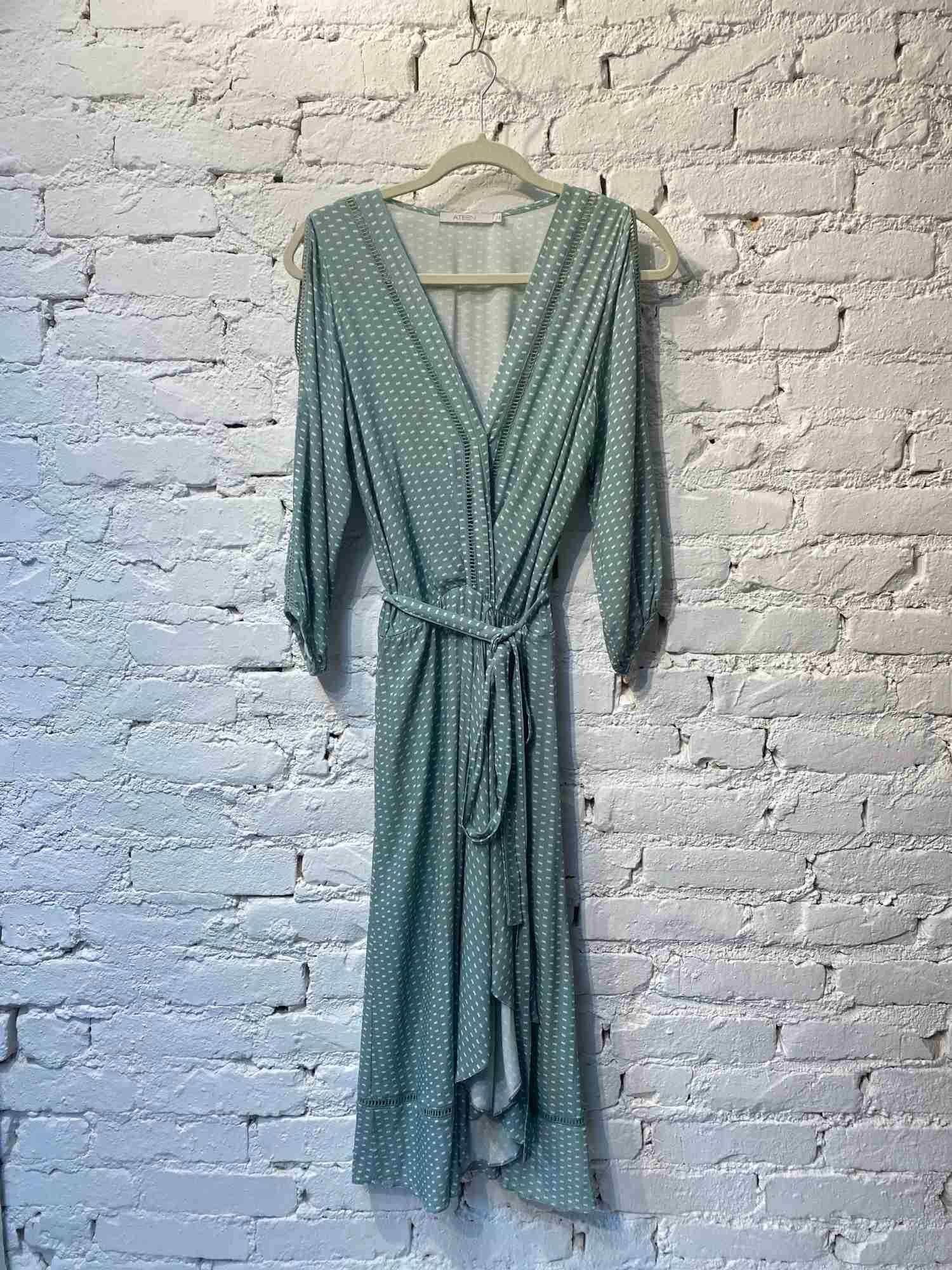 Vestido Ateen Verde Poá