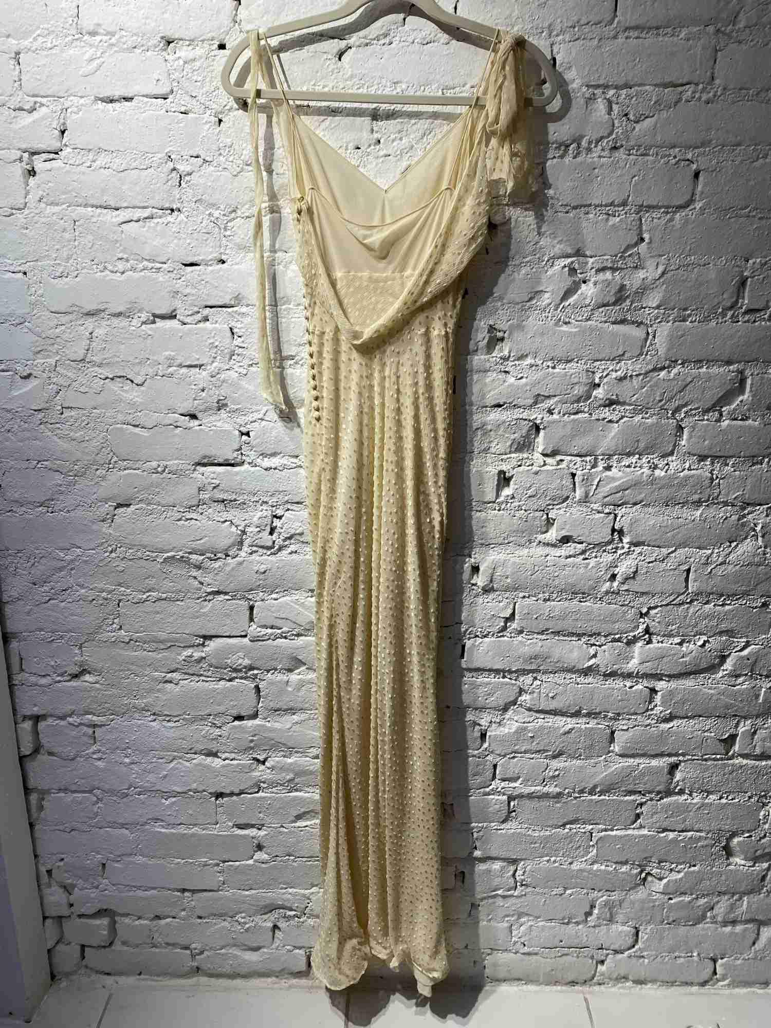 Vestido Christian Dior Seda Pura Bege