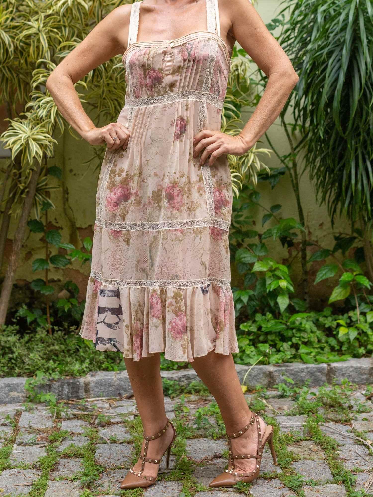 Vestido John Galliano Seda Pura Camponesa
