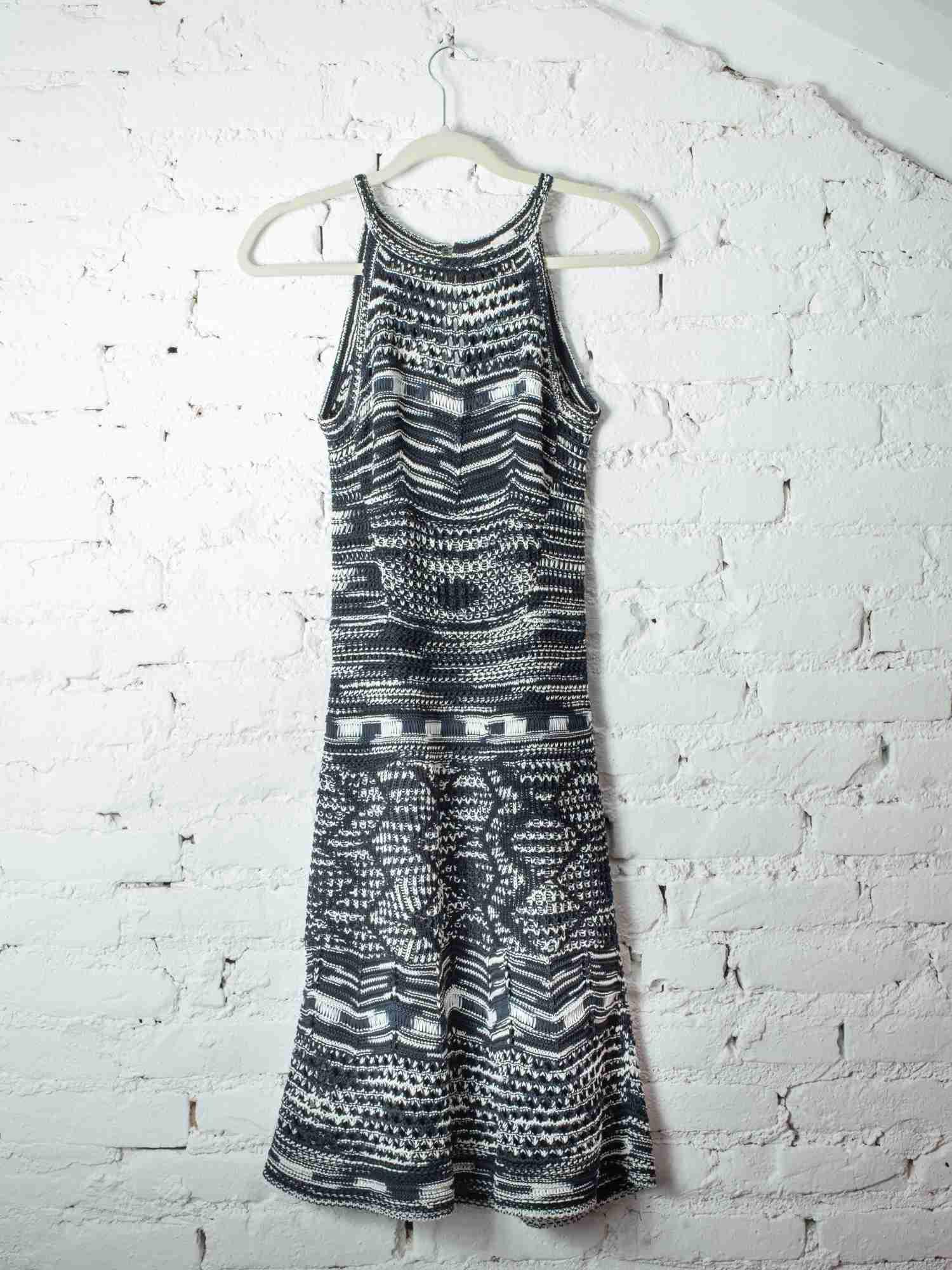 Vestido Missoni Tricot Preto Azul E Branco