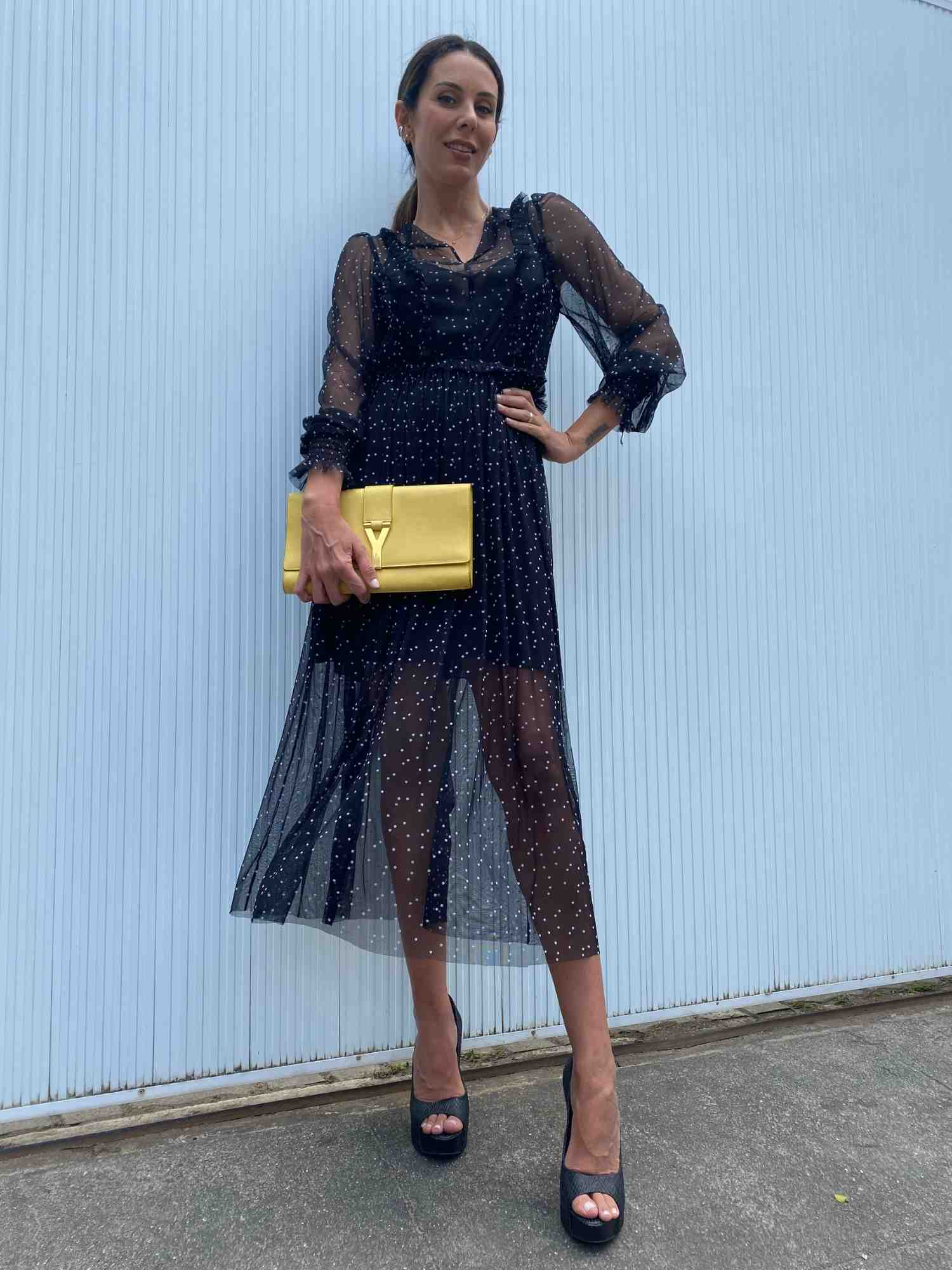 Vestido Mixed Poá Transparente