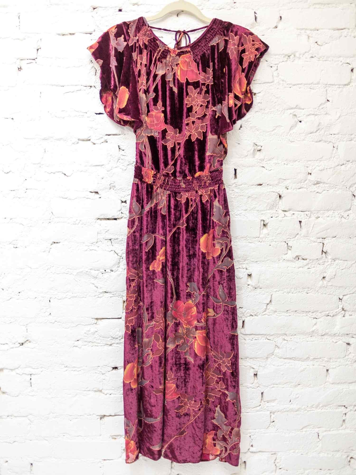 Vestido Mixed Veludo Floral