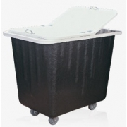 Carrinho coletor em fibra de vidro com Rodízios e com tampa 430 litros
