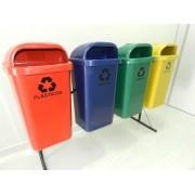 Conjunto de coleta Seletiva 4 Cestos Plasticos 50 litros