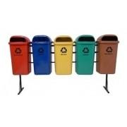 Conjunto de coleta Seletiva 5 Cestos Plasticos 50 litros