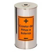 Lixeira de Aço Inox para coletar Pilhas e baterias 50 Litros