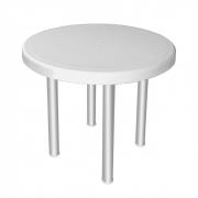 Mesa plástica redonda 4 lugares com pés em alumínio