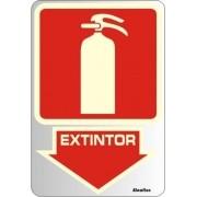 Placa de Sinalização Alumínio EXTINTOR - FOTOLUMINESCENTE - 16 X 23 cm